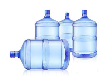 Four big bottles of water isolated on a white background
