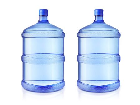 Two big bottles of water isolated on a white background