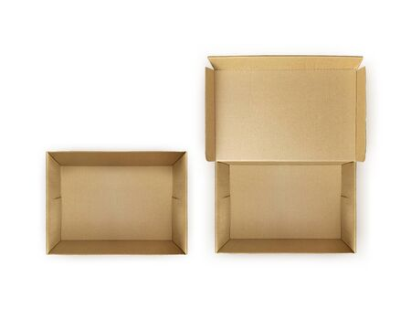 Open Empty Cardboard Box Isolated on White Background