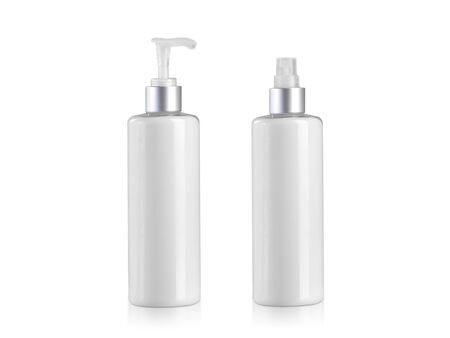Cosmetic bottles containers blank on white background
