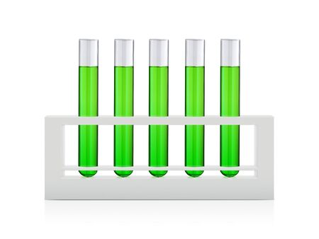 liquids in test tubes and chemical test tube isolated over white background