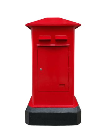 Red post box isolated on white background Standard-Bild