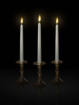 Candle light on a candlestick on a black background Standard-Bild