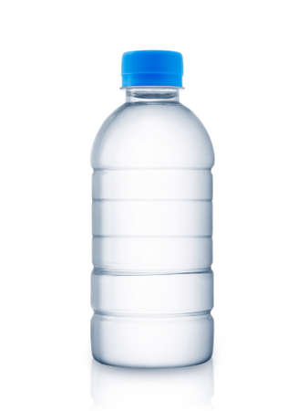 Empty water bottle on white background