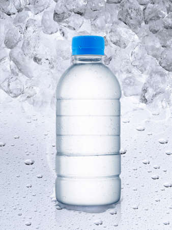 Empty water bottle, ice cubes background