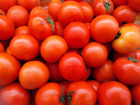 Delicious red tomatoes. Summer tray market agriculture farm full of organic vegetables It can be used as background