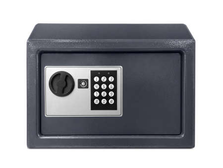 Small safe box isolated on a white background