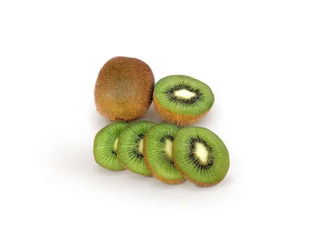 Kiwi fruit isolated. Whole and sliced kiwi isolated on white background with clipping path