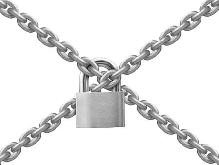 The gray metal chain and padlock on white background