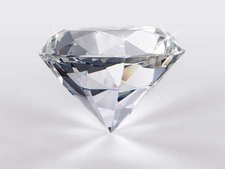 Dazzling diamond on white glossy background Фото со стока