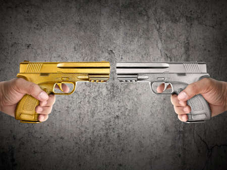 Killer with gun close up over grunge background with copyspace