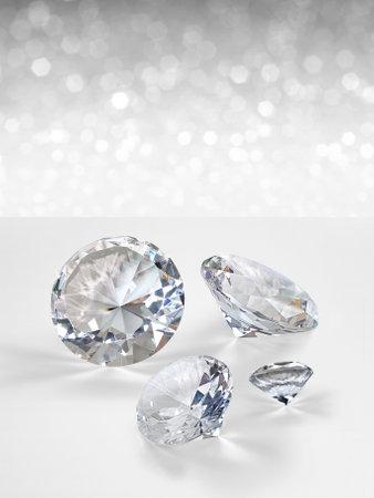 Dazzling diamond on white shining bokeh background. concept for chossing best diamond gem design