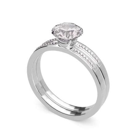 Close up of elegant diamond ring on white background. 3D render