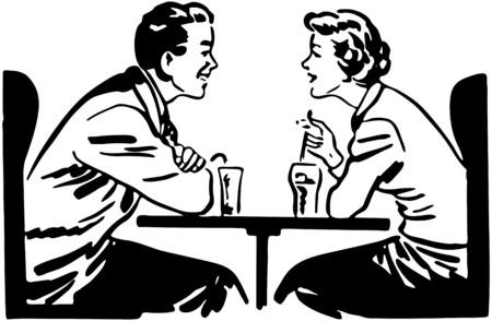 A Date Over Sodas Vector