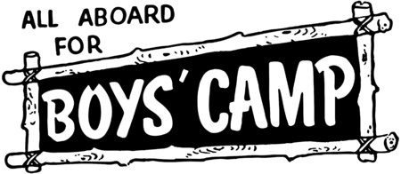 headings: All Aboard For Boys Camp