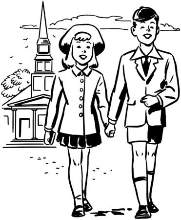 familia en la iglesia: Siempre en sus mejores galas Vectores