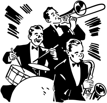 Big Band Drums And Horns Ilustrace