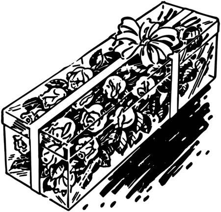 Box Of Long Stem Roses Vector