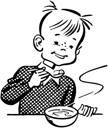Boy Eating Porridge Illustration