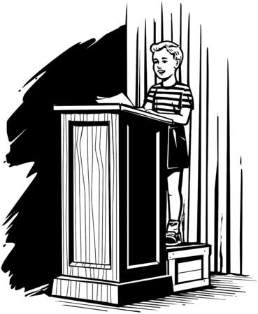 Boy On Podium Vector
