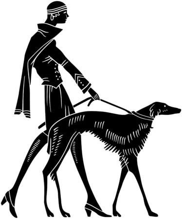 francais: Art Deco Woman With Dog