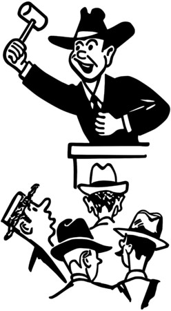 vendors: Auctioneer Illustration