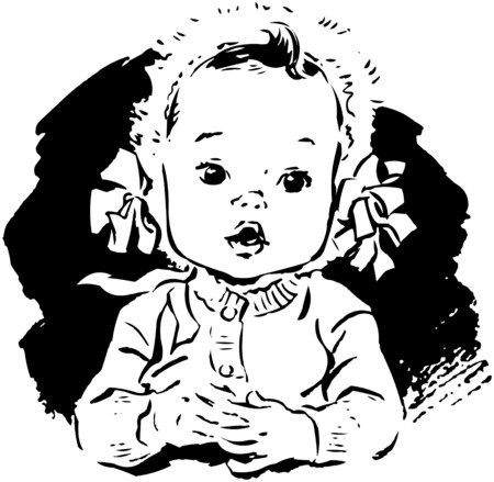 bonnet: Baby Girl In Bonnet Illustration