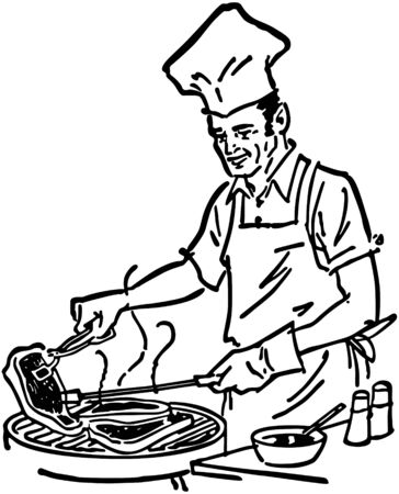 Barbecue Chef Vector