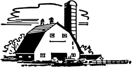 rancheros: Granero y silo Vectores