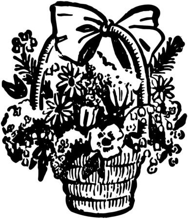 Basket Of Flowers Vector
