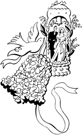 Bride And Groom Bell And Dove Vector
