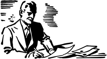 signing papers: Business Man Writing