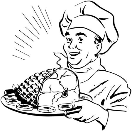carnes: Cocinero con el jamón