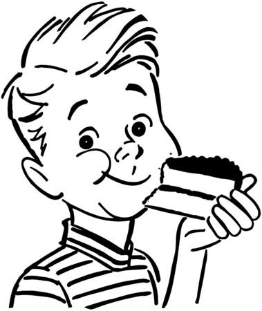 Muchacho que come la torta