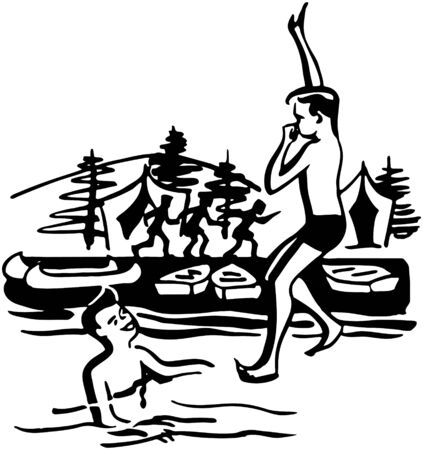 jumping into water: Boy Jumping Into Water Illustration