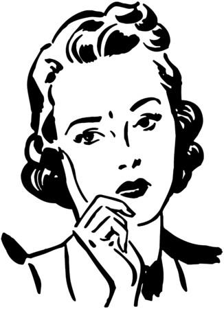 Concerned Woman Illustration