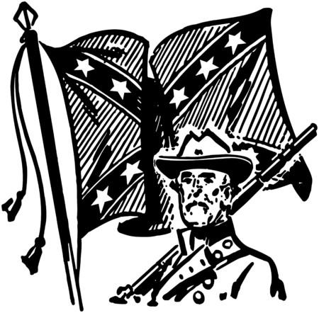 Confederate With Flag Illusztráció