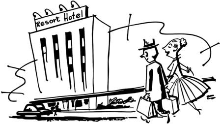 reise retro: Couple Anreise im Hotel Illustration