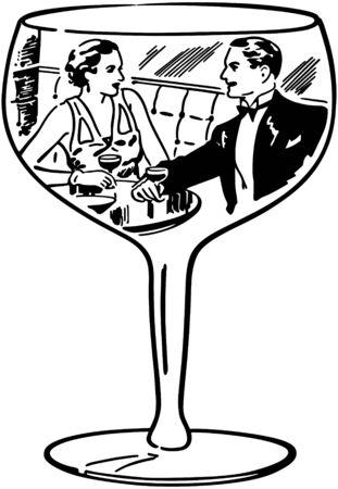 toasting wine: Couple In Wine Glass