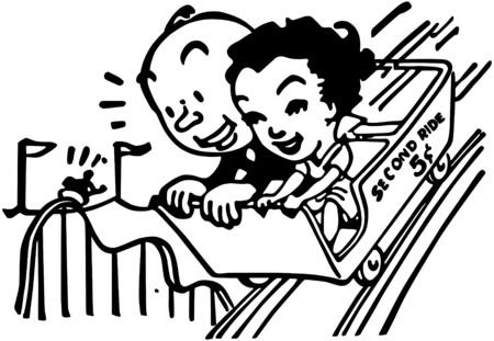 fairs: Couple On Roller Coaster Illustration