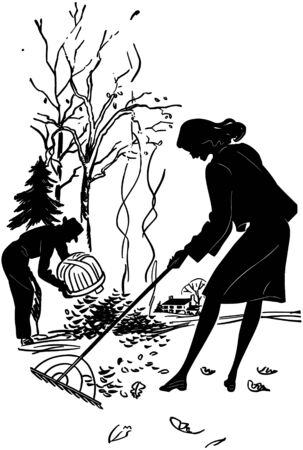 raking: Couple Raking Leaves Illustration