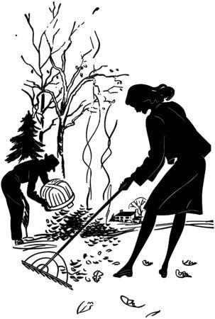Couple Raking Leaves Illustration