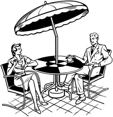 Paar zittend op Patio Stock Illustratie