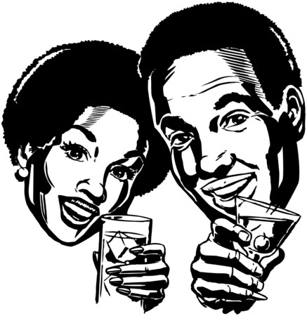african american couple: Couple With Cocktails 2