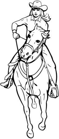 Cowgirl Barrel Racer Illusztráció