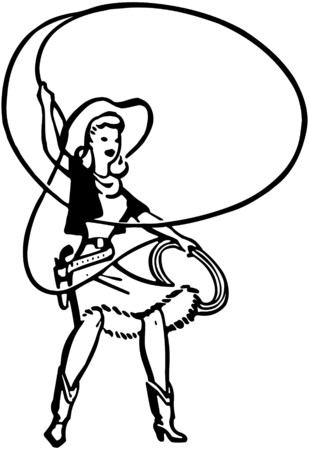 Cowgirl With Lasso Vector
