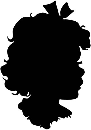 hair bow: Darling Girl Silhouette Illustration