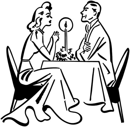 courtship: Dining Couple Illustration