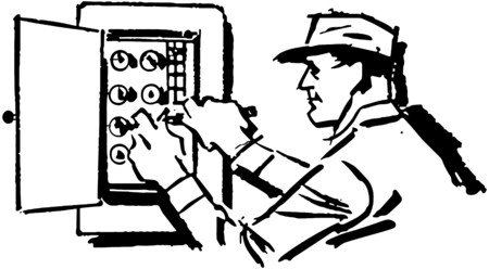 Electrician At Work Stock Illustratie