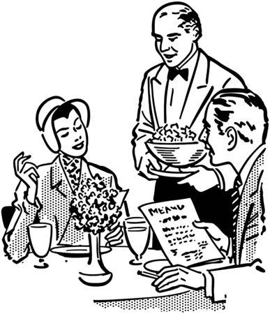 food art: Elegant Dining Couple Illustration